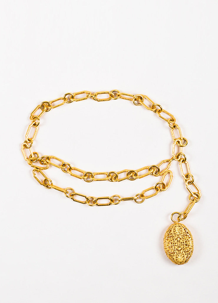 Chanel Gold Toned Metal Chain Link Oval Filigree Belt Frontview