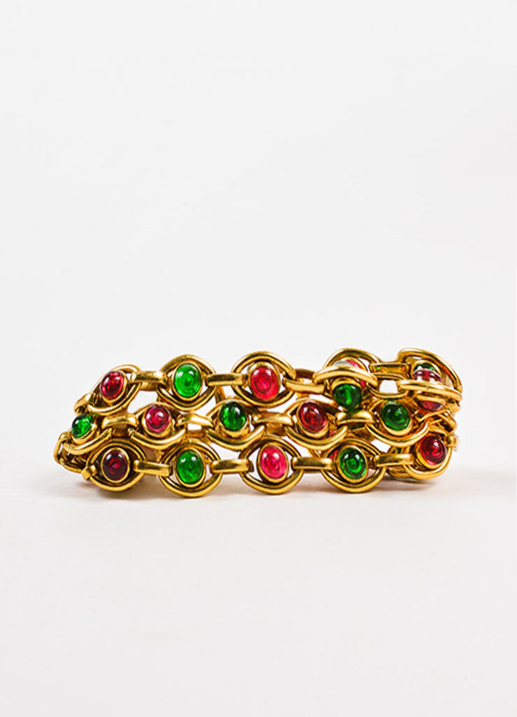 Chanel Gold Toned, Pink, and Green Gripoix Stone Multi Strand Link Bracelet Frontview