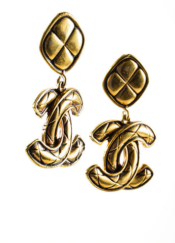 "Gold Toned Chanel Quilted ""CC"" Drop Earrings Sideview"