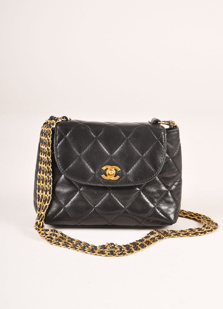 "Chanel Black and Gold Toned Quilted Leather ""CC"" Turnlock Chain Strap Mini Flap Bag Frontview"