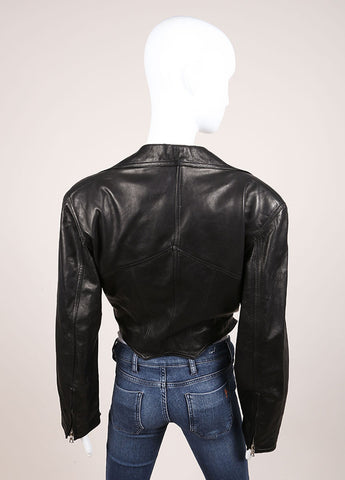 Gianni Versace Black Leather Crop Moto Belted Long Sleeve Jacket Backview