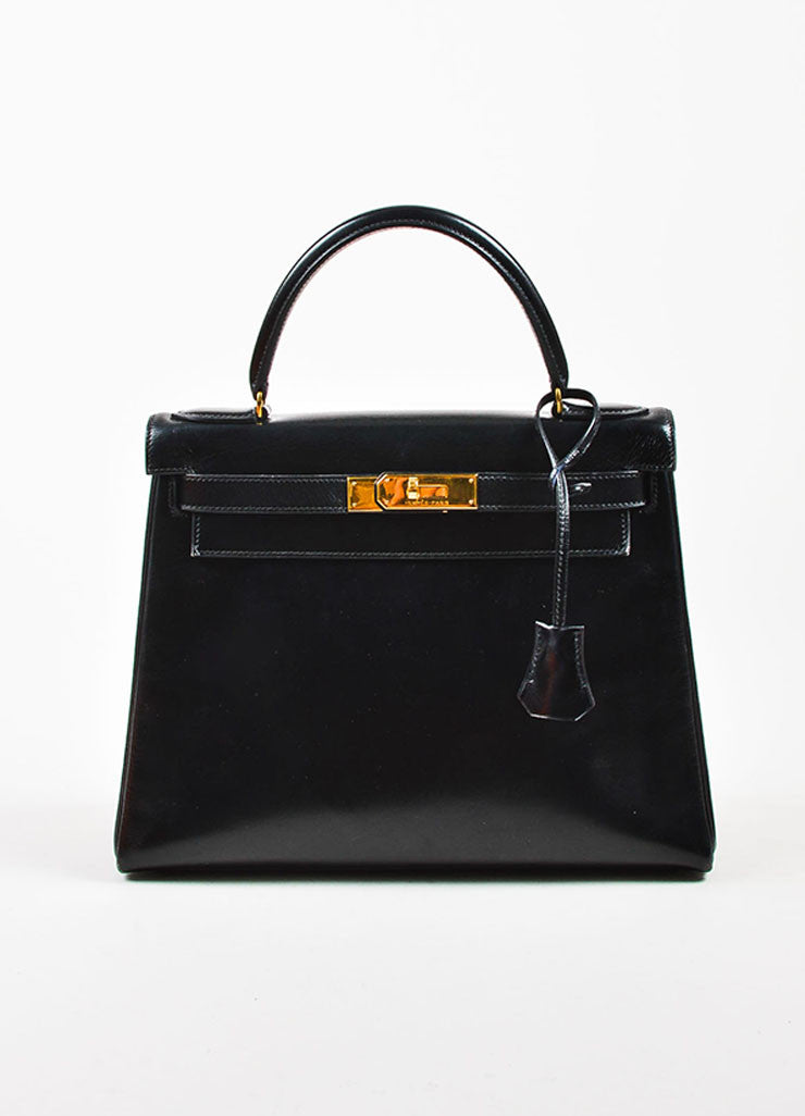 "Hermes Black Box Calf Leather ""Kelly"" Flap Handbag Frontview"