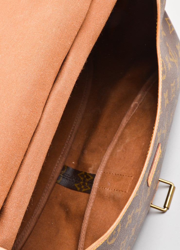 "Brown Louis Vuitton Monogram ""Saumur 35"" Messenger Bag Interior"