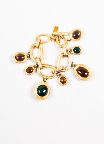 Yves Saint Laurent Gold Toned Metal Multicolor Glass Stone Charm Bracelet Frontview