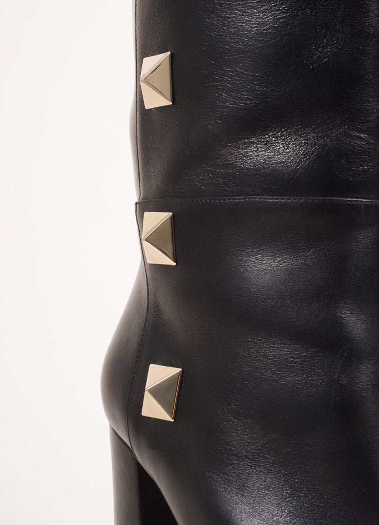 "Valentino Black and Gold Toned Leather ""Rockstud"" Knee High Chunky Heel Boots Detail"