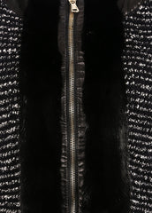 Valentino Black and White Wool Knit and Leather Boucle Tweed Fur Trim Long Sleeve Jacket Detail