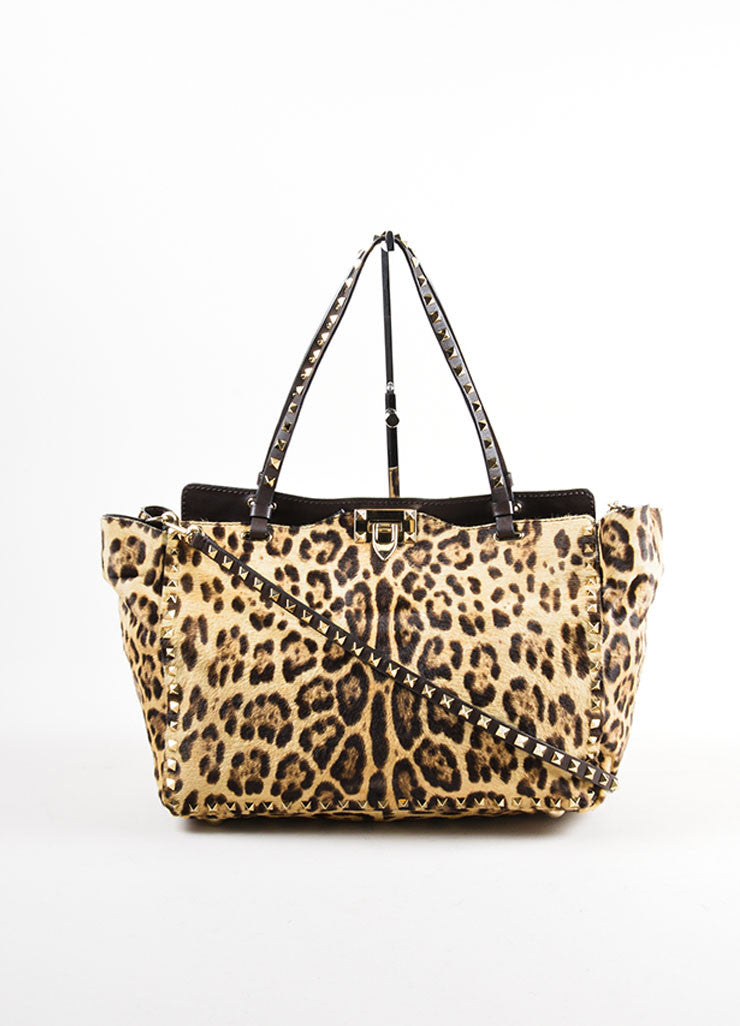 "Valentino Brown Leopard Print Pony Hair Leather ""Rockstud"" Tote Bag Frontview"