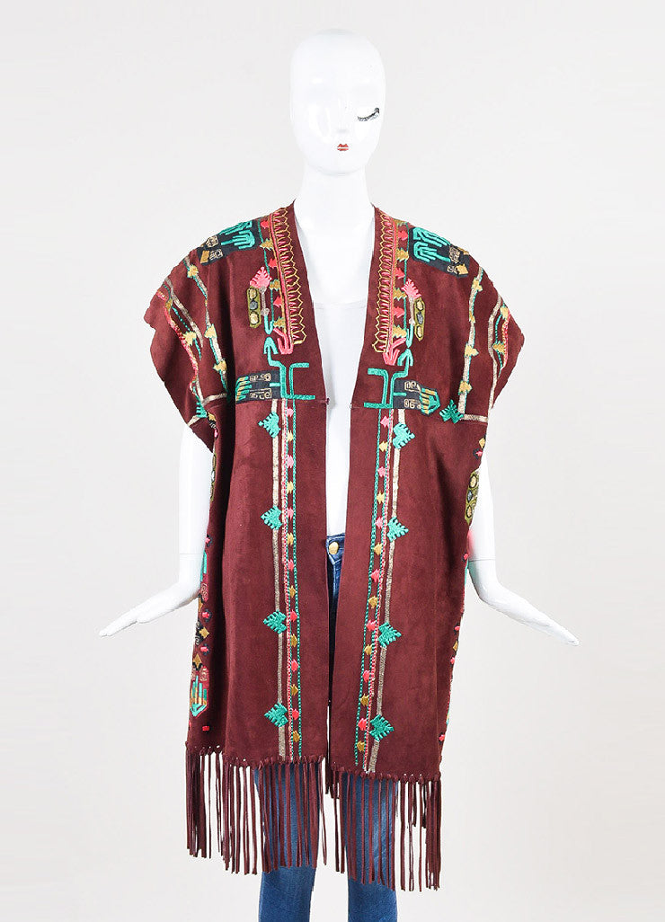 Valentino Burgundy, Green, and Gold Suede Embellished Poncho Frontview