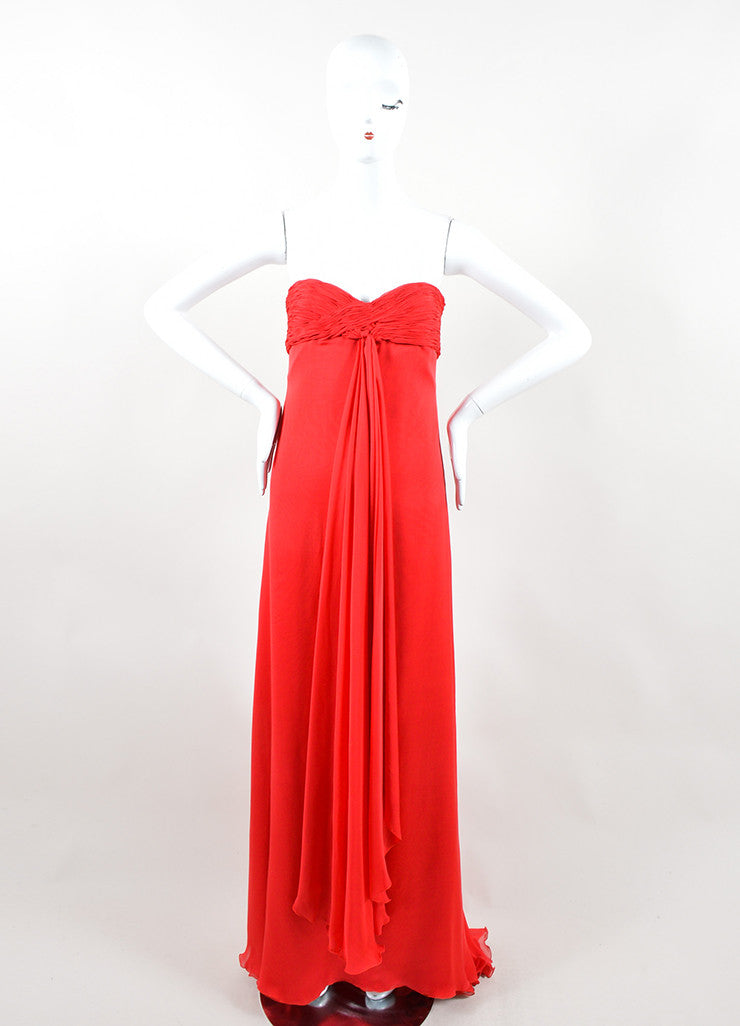 Valentino Red Chiffon Sweetheart Strapless Ruched Straight Empire Gown Frontview