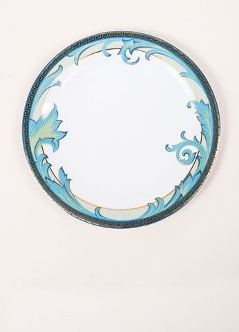"Versace Rosenthal Blue and Gold Toned ""Arabesque"" 9 inch Salad Plate Frontview"