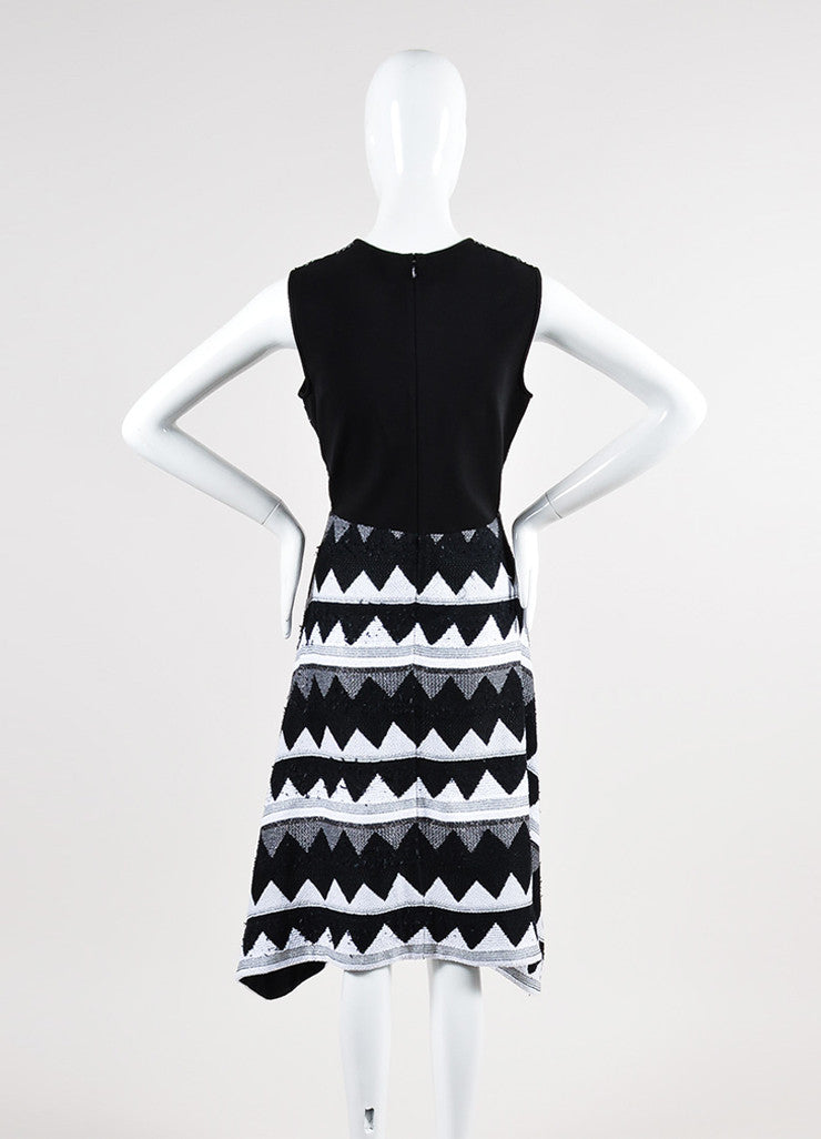 Black and White Yigal Azrouel Zig Zag Sleeveless Dress Back