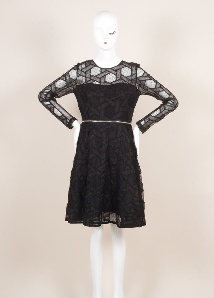 Yigal Azrouel New With Tags Black Leather Trim Lace and Mesh Two Way Zip Dress Frontview