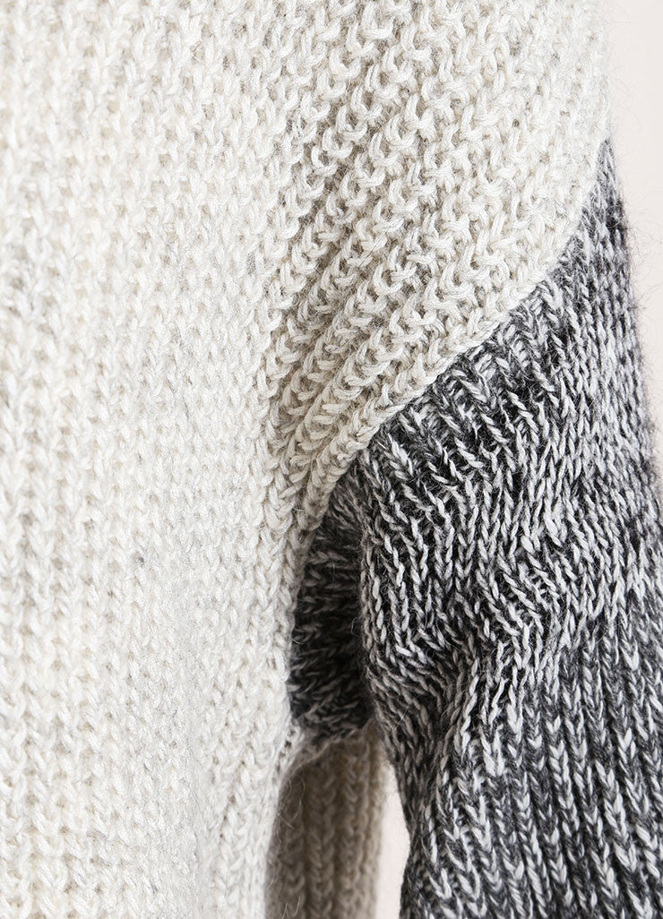 Yigal Azrouel Grey Cotton and Wool Varsity Stripe Pull Over Sweater Detail