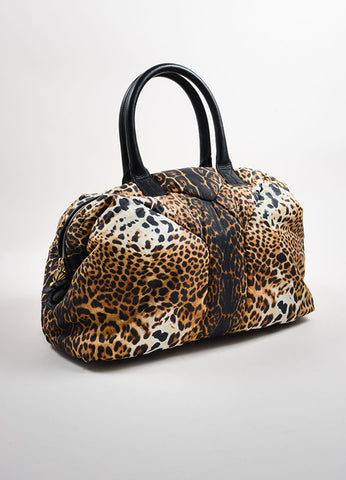"Yves Saint Laurent Brown, Black, and Cream Nylon Leopard Print ""Muse"" Bag Sideview"
