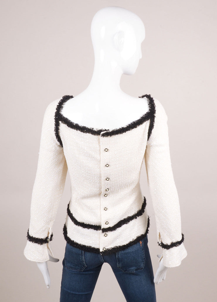 New With Tags Cream and Black Sequin Embellished Long Sleeve Knit Top