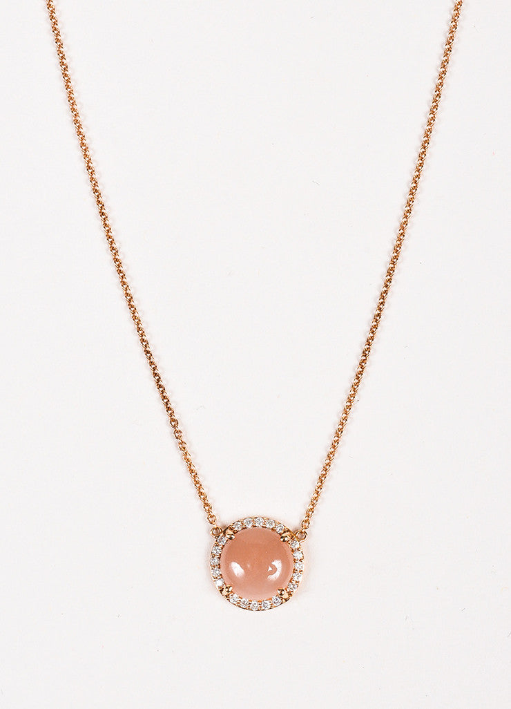 "Tacori 18K Rose Gold Moonstone Diamond ""Petite Cabochon"" Necklace Detail"