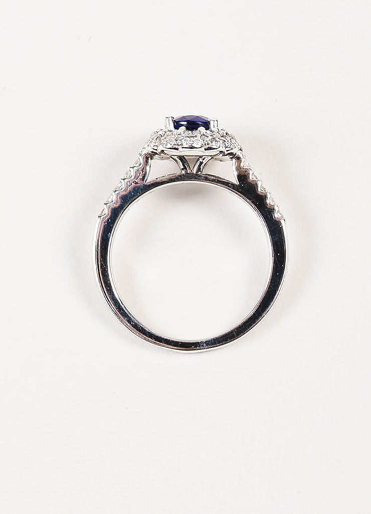 "14K White Gold, Blue Sapphire, and Diamond ""Kate Middleton"" Engagement Ring Topview"