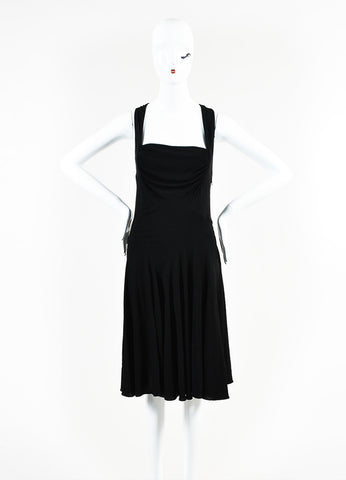 Alaia Black Jersey Sleeveless Drape Dress Frontview