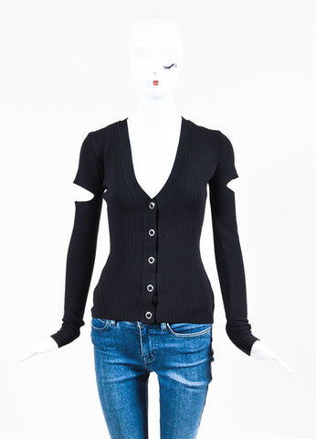 Alexander Wang Black Rib Knit Slit Long Sleeve Sweater Cardigan Frontview 2