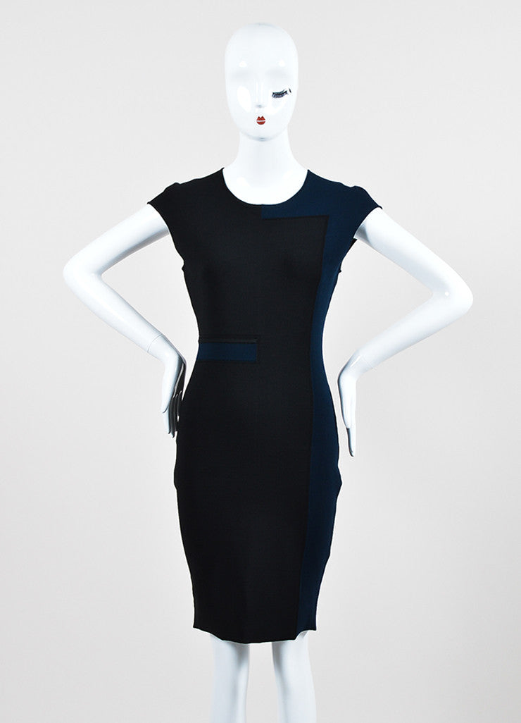 Navy Black Alexander Wang Stretch Knit Color Block Dress Frontview