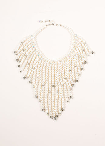 Alice Caviness Faux Pearl, Crystal, and Rhinestone Beaded Fringe Short Necklace Frontview