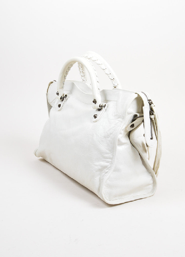 "Cream White Balenciaga Leather ""Classic City"" Satchel Back"