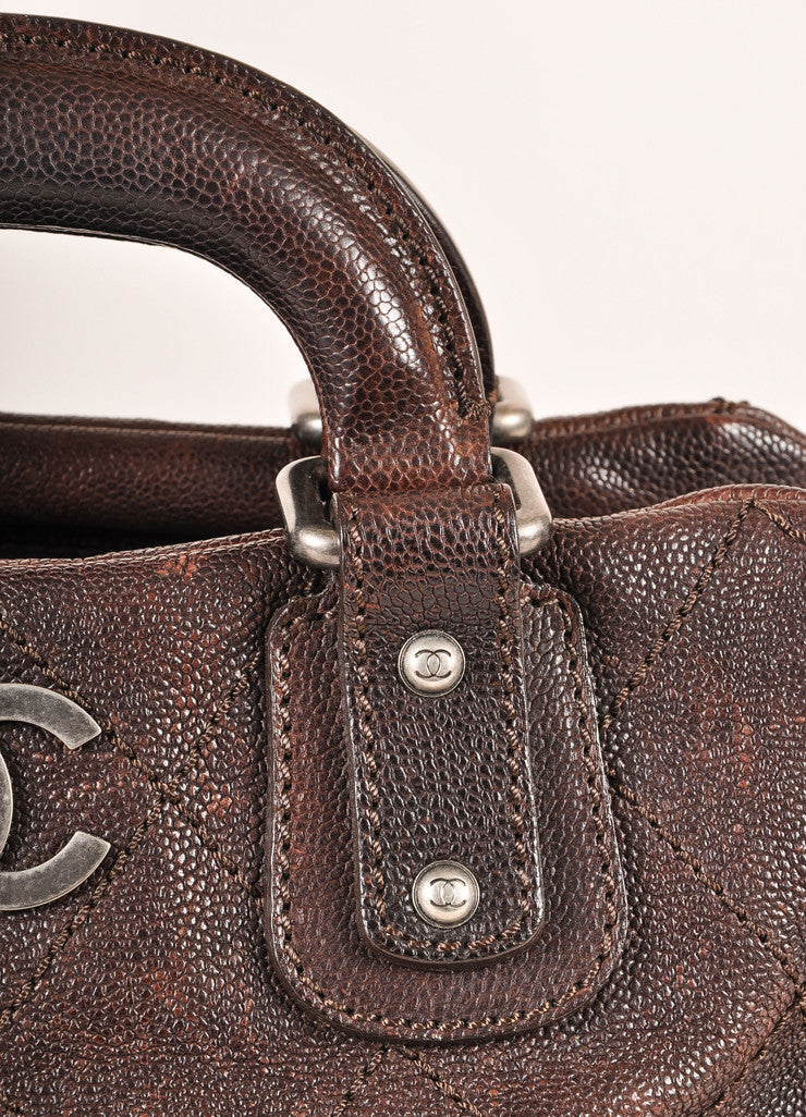 Chanel Brown Leather Quilted Bowler Satchel Handbag Detail 2