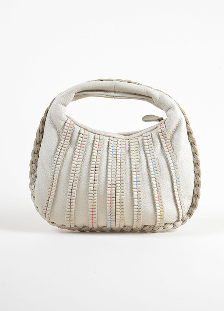 Bottega Veneta Cream and Beige Leather Rolled Mini Hobo Bag Frontview