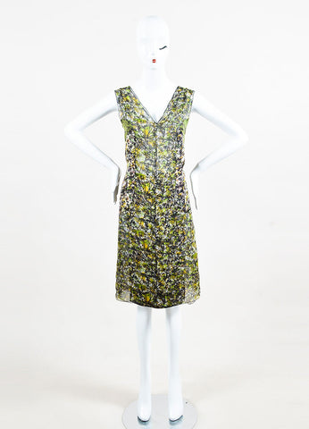 Green Black Yellow Bottega Veneta Silk Printed Sleeveless Dress Front