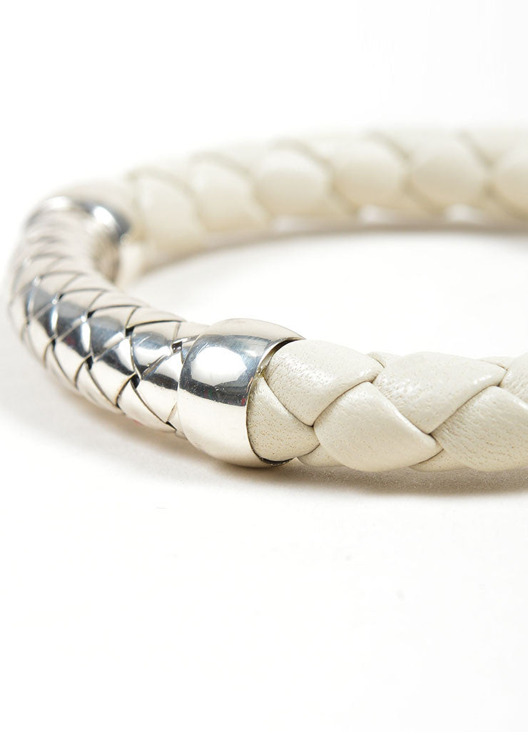 Bottega Veneta Sterling Silver and White Leather Woven Cuff Bracelet Detail