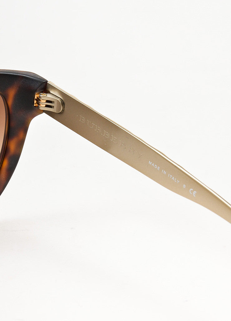 Burberry Brown Matte Tortoise Shell Silver Embossed Cat Eye Sunglasses Brand