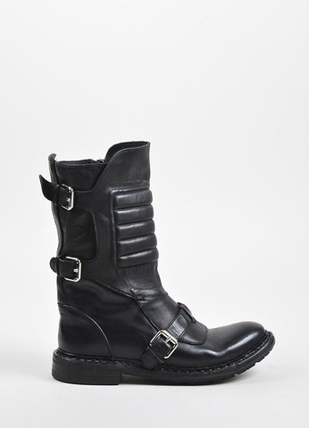 "Burberry Black Leather Tri Buckled Calf High ""Egerton"" Moto Boots Sideview"