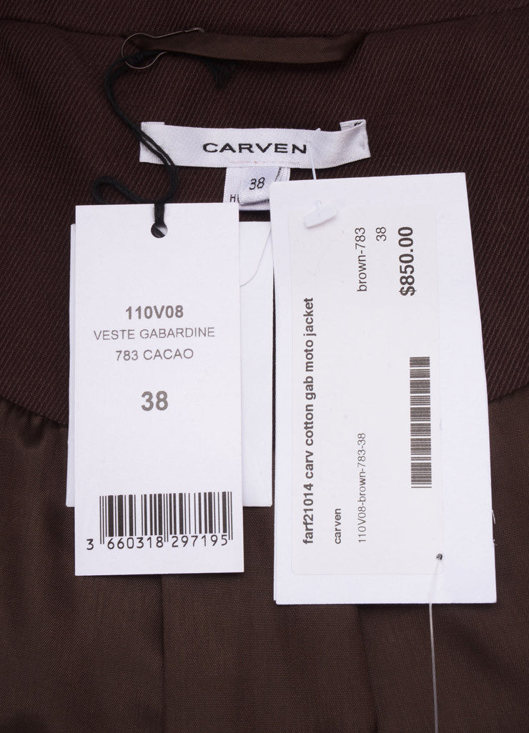 "Carven New With Tags Brown Knit Long Sleeve ""Gab Moto"" Jacket Brand"