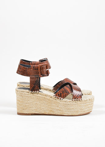 Brown Celine Snakeskin Espadrille Wedge Sandals Side
