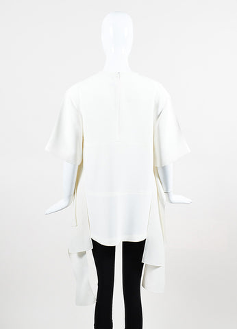 Celine Cream Silk Contrasting Ribbon Short Sleeve Oversized Top Backview