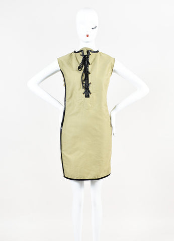 Celine Olive Green and Black Cotton Leather Trim Tie Front Dress Frontview