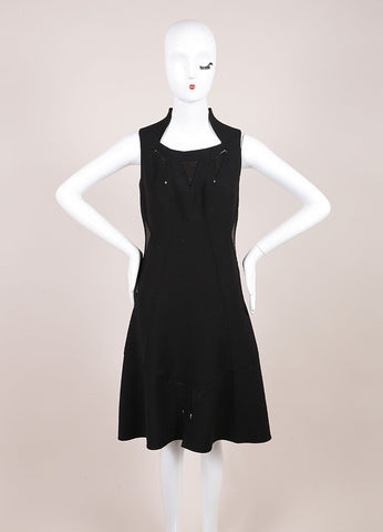 Chado Ralph Rucci Black A-Line Geometric Leather Detail Dress Frontview
