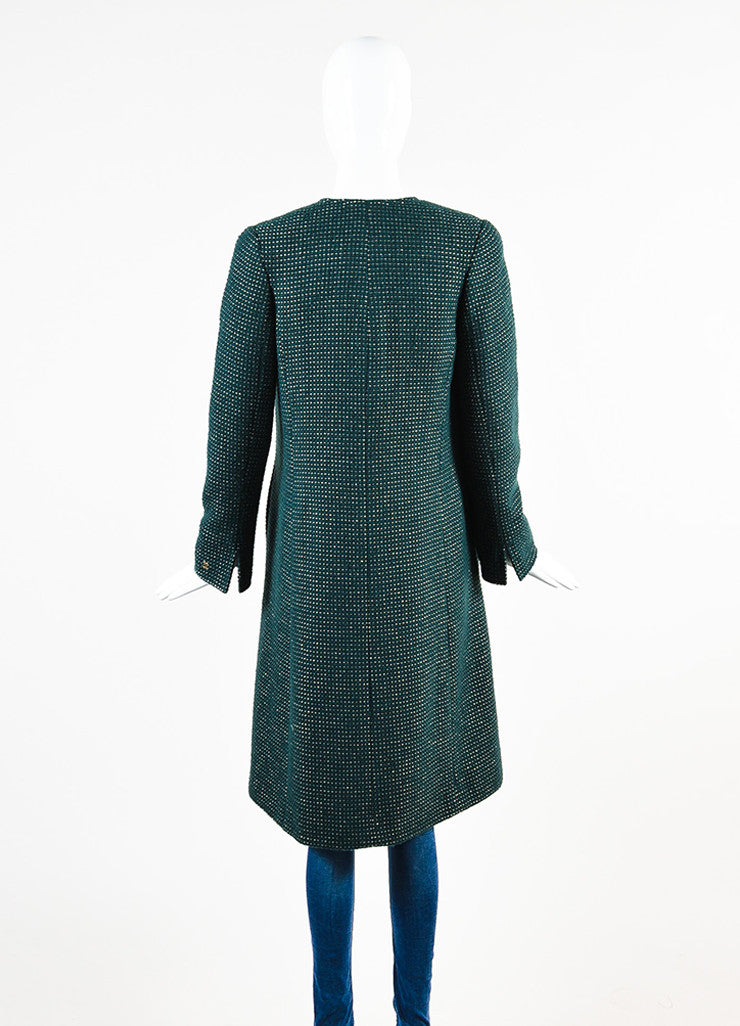 Chanel Hunter Green and Gold Wool Dotted Collarless Coat Backview