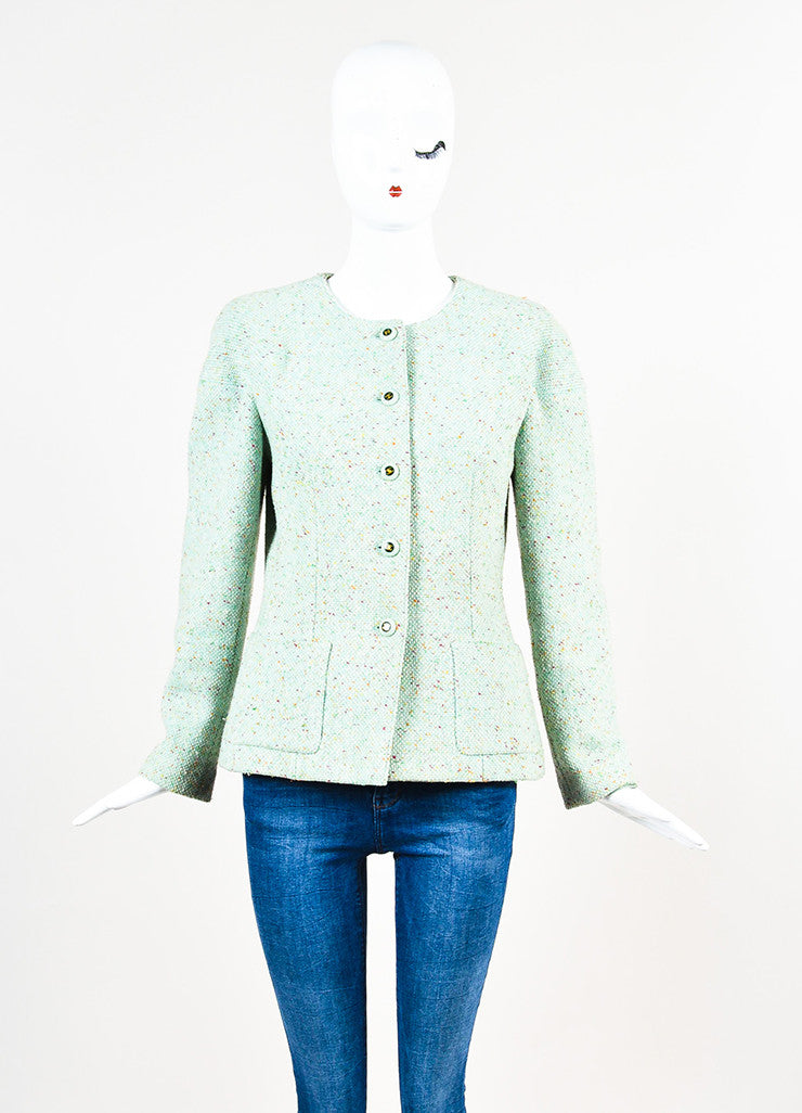 Chanel Light Green Wool Blend Color Flecked 'CC' Button Tweed Jacket Frontview 2