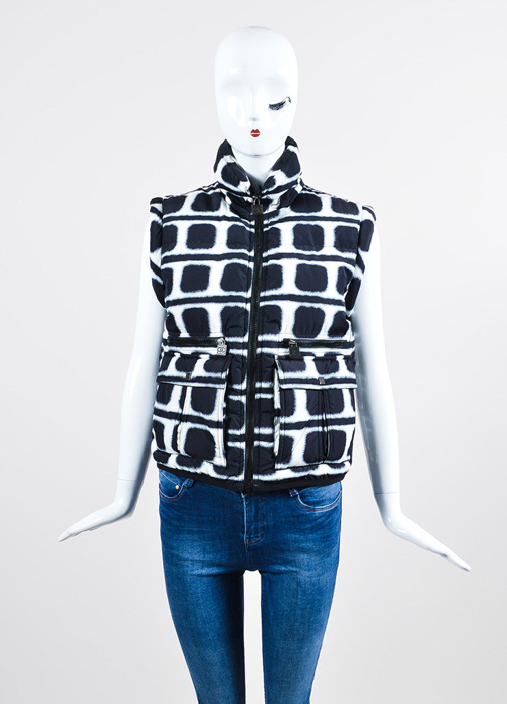 Navy and White Chanel Printed Down Puffer Vest Frontview 2