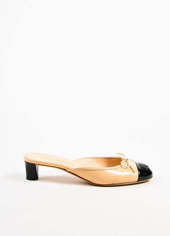 Chanel Beige and Black Patent Leather Cap Toe Bow Detail Mules Sideview