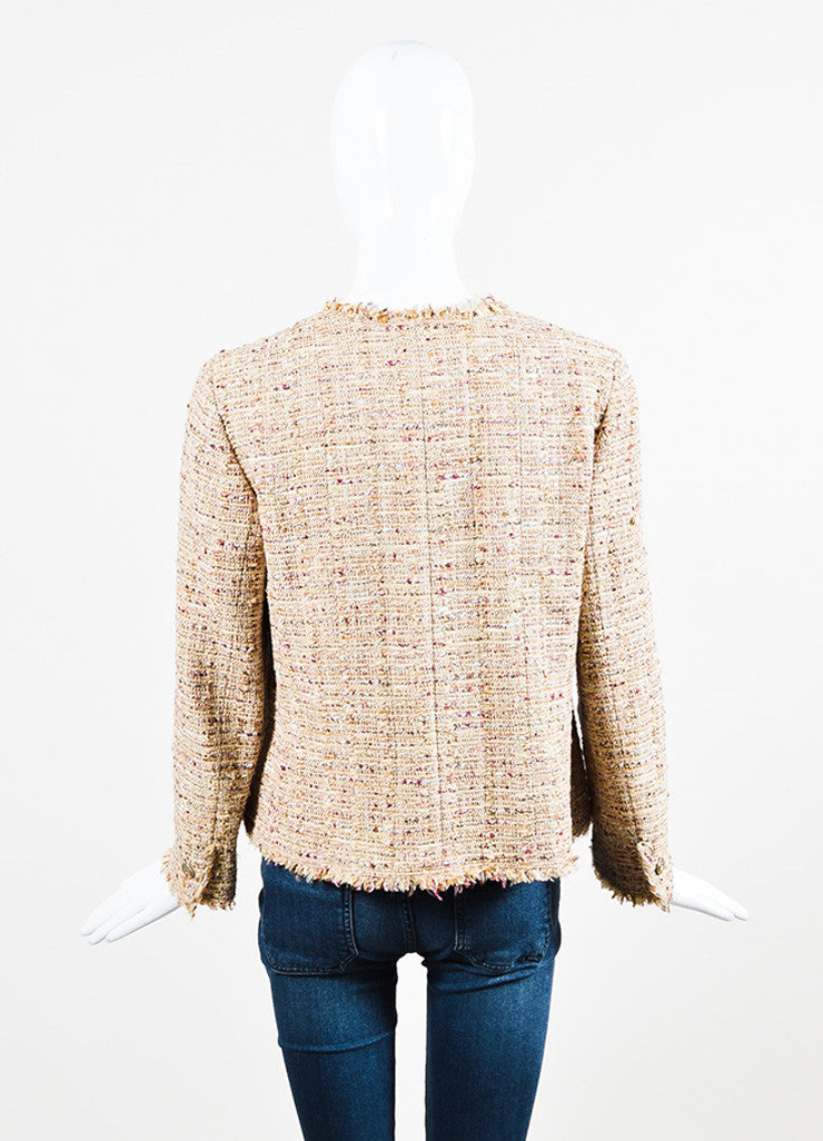 Chanel Beige, Maroon, and Multicolor Tweed Fringe Trim Button Down Jacket Backview