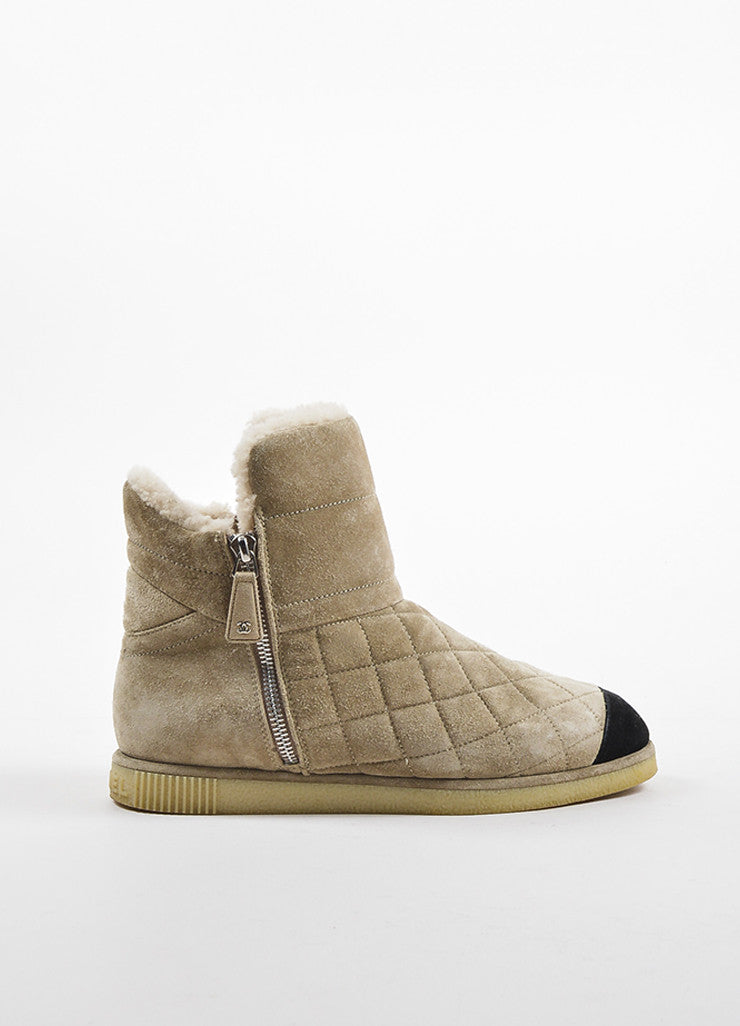 Chanel Beige Suede Shearling Quilted Cap Toe Ankle Boots Sideview