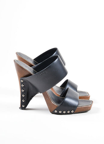 Black and Brown Chanel Leather and Wood Clog Mule Heeled Sandals Sideview