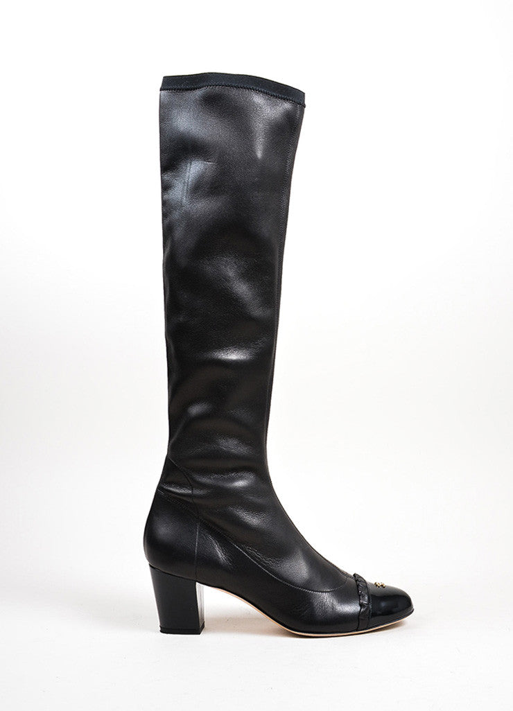 Black Chanel Calfskin Leather Patent Cap Toe Chunky Heel Tall Boots Sideview