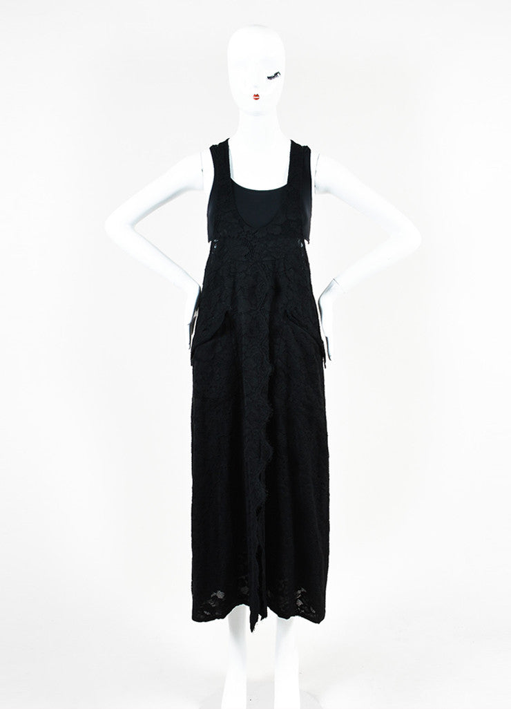 Chanel Black Cotton Lace Sleeveless Scoop Neck Maxi Dress Frontview
