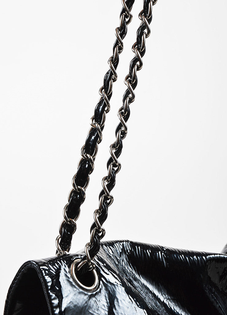 Chanel Black Lambskin Patent Quilted Leather Silver Toned Chain Flap Shoulder Bag Detail 2
