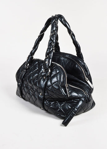 "Chanel Black Quilted Leather SHW ""Lady Braid"" Bowler Bag Sideview"