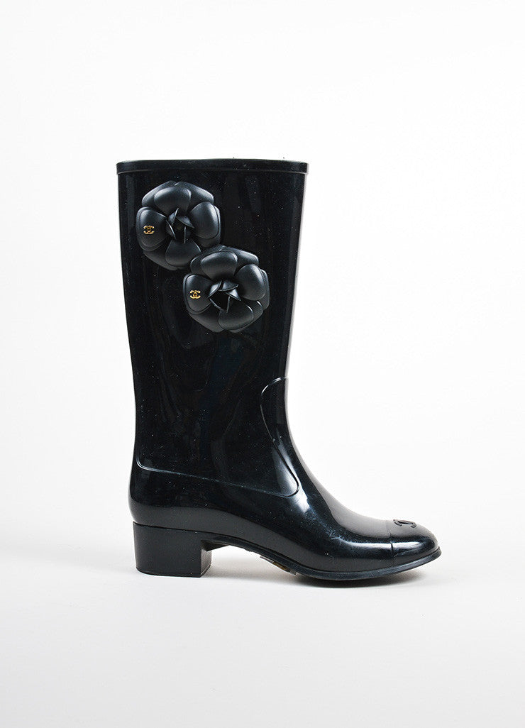 Black Chanel Rubber Flower Accent Rain Boots Sideview