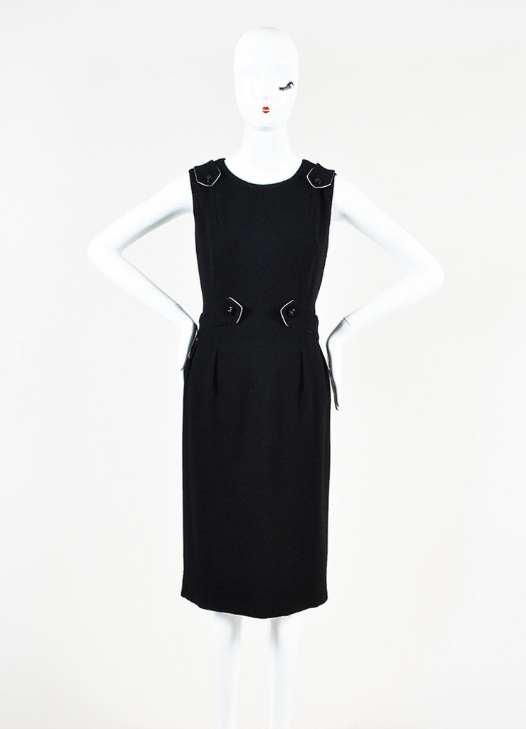 Black Chanel Wool Sleeveless Pave Crystal 'X' Button Dress Front